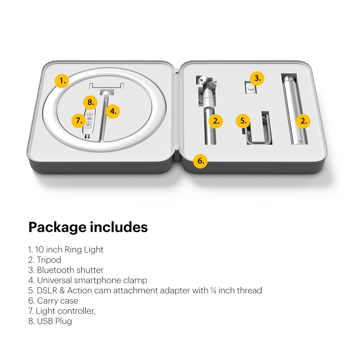 Ring light package includes